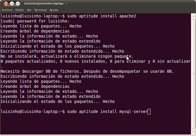 instalación de programas (apache+mysql+php5) en Ubuntu